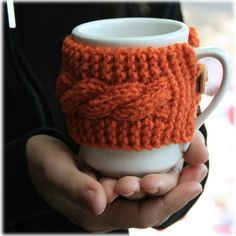 Keeping Things Simple...: Reusable knitted coffee cup cozy Pumpkin