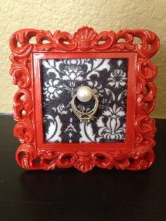 Red & Damask Wedding Ring Frame by Downtownalyshop on Etsy https://www.etsy.com/listing/226833940/red-damask-wedding-ring-frame