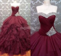 Burgundy Sweet 16 Ball Pageant Quinceanera Dress New Prom Formal Evening  Gown 9b1979e2e6d2