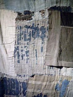"""Detail from Boro piece, Amuse Gallery, Tokyo. Photo courtesy of Candace Edgerley"""" Sashiko textiles. Shibori, Textile Texture, Textile Fiber Art, Wabi Sabi, Kintsugi, Textile Manipulation, Design Textile, Creation Art, Japanese Textiles"""