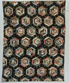 Antique string pieced star/hexagon/spider web top   Tim Latimer - Quilts etc