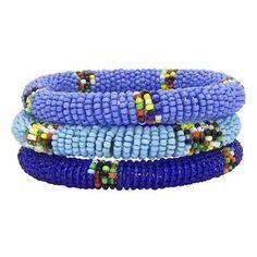 Maasai Bangles - Set of Three - Blues - Jedando (J) -  Holiday Gift Guide for New Moms - meadoria