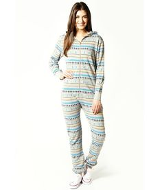 Yassmin Geometric Print Hooded Onesie  $30  A stylish onesie pajamas