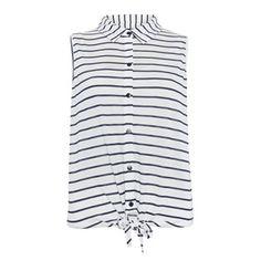 Primark: Womenswear - Navy and white striped tie-waist sleeveless shirt Sleeveless Shirt, Primark, Navy And White, What To Wear, Women Wear, Tank Tops, My Style, Shirts, Tie