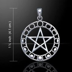 MOON Phases Pentacle Pendant in .925 Sterling Silver - Magick Moon Protection Amulet