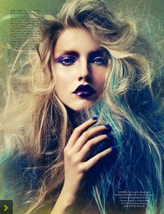 purple lips  Elise Lou for Elle, Denmark, February 2013 Click here for a free promo!!