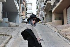 ohwyouknow: BLOGGED - Stolling through the Streets of Athens: Carlo Colucci knitted Sweater, Primark Hat, Burberry Coat, OOTD, Streetstyle, Streetwear, Sunglasses, Outfit Inspiration