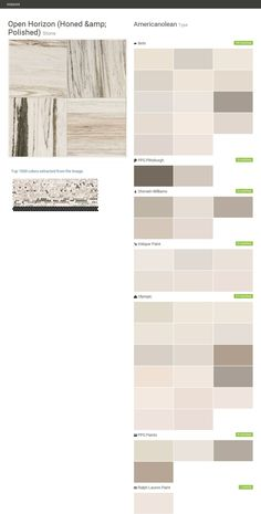 Open Horizon (Honed & Polished). Stone. Type. Americanolean. Behr. PPG Pittsburgh. Sherwin Williams. Valspar Paint. Olympic. PPG Paints. Ralph Lauren Paint.  Click the gray Visit button to see the matching paint names.
