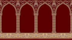 Mosque Carpet USA  Red Hira  Made in Turkey  Colorfast, Anti-Static, Anti-Bacterial, Never Shedding