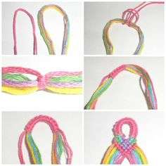 Easy friendship bracelet patterns - DIY crafts for summer! Here are 14 friendship bracelet tutorials for you to make. These are great craft projects for beginners and a wonderful way to get that retro style. Learn how to make friendship bracelets to co Yarn Bracelets, Diy Bracelets Easy, Embroidery Bracelets, Summer Bracelets, Bracelet Crafts, Bracelets For Men, Gold Bracelets, Diamond Earrings, Drop Earrings