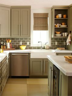 apron sink - love the tile!  Cabinet color for island would be pretty