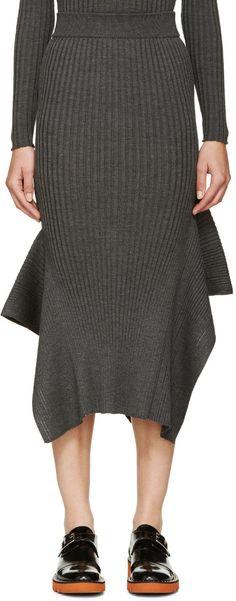 Stella McCartney Grey Panelled Mid-Length Skirt