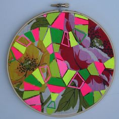 Geometric Organic Chemistry painting on vintage textile, acrylic gouache on found hankie altered upcycled via Etsy