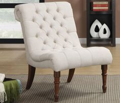 Oatmeal Curved Accent Chair by Coaster Furniture in Accent Chairs. Relax in this elegant Accent Chair by Coaster Furniture. This tufted curved back and seating will keep you comfortable while beautiful turned legs add style. My Living Room, Living Room Chairs, Living Room Furniture, Dining Chairs, Apartment Furniture, Family Furniture, Furniture Ideas, Furniture Styles, Apartment Ideas