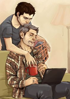 foxstiel daggomusprime:  Old man Dean! And his young man :3 I have a huge soft spot for older Dean/always-young-angel Castiel. There has t...
