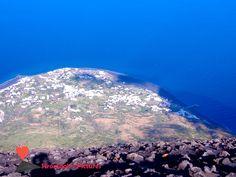 The #village of #Stromboli seen from the #summit of the #volcano #Stromboli.