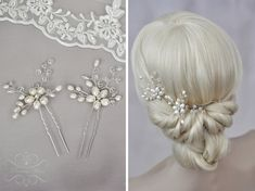 Braut Haarschmuck Haarnadeln mit Perlen 2 Stück - echte Perlen Süßwasserperlen Kristallen und Strasssteine Hochzeit Brauthaarschmuck