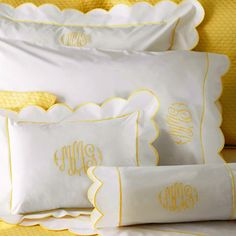 White linens with yellow embroidery Monogram Bedding, S Monogram, Yellow Bedding, Yellow Bedrooms, Little Girl Rooms, Little Girls, Girls Bedroom, Bedroom Ideas, Bed Pillows