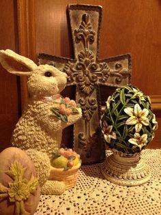 Easter bunny, cross & egg