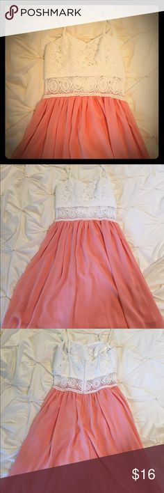 Pink and white dress White lace top with see through design around the waist. Adjustable straps with zipper in the back. Very good condition. No stains or snags. A. Byer Dresses Mini