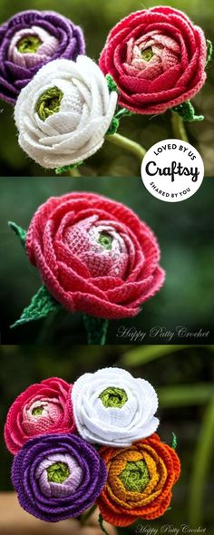 These lifelike crochet flowers were made by a crafter just like you! Click to ask questions, show the project some love and even find the same pattern they used.