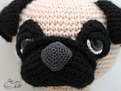 Sleepy-eyed pug amigurumi crochet pattern by Emi Kanesada (Enna Design)