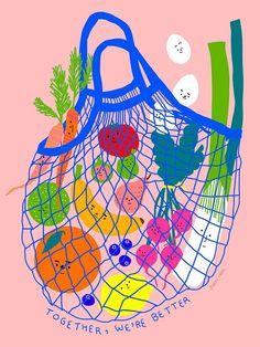 Inclusive Groceries I, an art print by Subin Yang - INPRNT Contemporary art Art And Illustration, Illustration Design Graphique, Illustrations And Posters, Friends Illustration, Vegetable Illustration, Design Art, Web Design, Red Aesthetic, Grafik Design