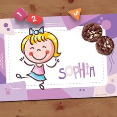 Personalized Placemats for girls with printing practice on the back! Write on with any washable marker! 4 Kids, Cute Kids, Learning Fractions, Personalised Placemats, Printing Practice, Alphabet And Numbers, Markers, Purple, Prints
