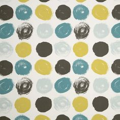 Teal Yellow Grey Geometric Cotton Upholstery Fabric - Modern Teal Lined Curtains - Large Polka Dot Fabric - Teal Yellow Throw Pillow Cover
