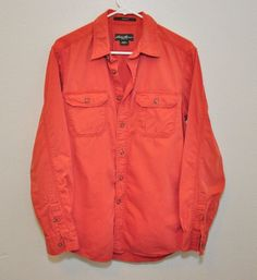 EDDIE BAUER SHIRT MENS CASUAL CORAL PINK LONG SLEEVE  BUTTON FRONT SIZE M #EddieBauer #ButtonFront