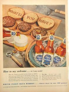 Retro Barbecue, Milwaukee Beer, Beer Advertisement, Most Popular Drinks, Vintage Ads, Vintage Food, Malted Barley, Pabst Blue Ribbon, Brewing Company