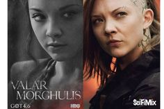 Natalie Dormer is the public relations queen in Game of Thrones and Hunger Games: Mockingjay.  Left image: HBO, via IMDb. Right image: Lionsgate, via IMDb.
