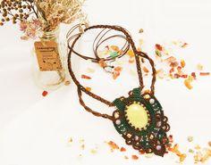 """Macrame necklace with stone """"Lili"""" with limon jadeit stone, micro macrame jewelry"""