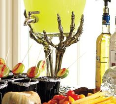 Edible silver glitter on those black glasses?  Love the lime/cayenne stir sticks too