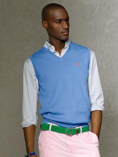 Pima Cotton V-Neck Vest - V-Neck  Sweaters - RalphLauren.com