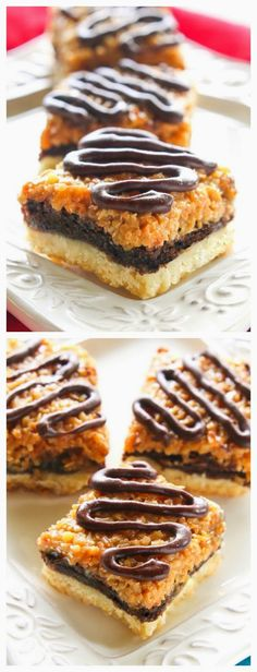 These Samoa Brownie Bars have a shortbread crust topped with a brownie layer and caramel coconut inspired by the Girl Scout cookie. the-girl-who-ate-. Cookie Desserts, Sweet Desserts, Just Desserts, Sweet Recipes, Delicious Desserts, Yummy Food, Brownie Recipes, Cookie Recipes, Dessert Recipes