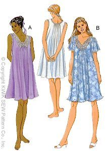 Kwik Sew 2780 Misses Nightgown sewing pattern Skirt Patterns Sewing, Knitting Patterns, Nightgown Pattern, Kwik Sew, Skirt Tutorial, Sewing Clothes, Dressmaking, Knitted Fabric, Night Gown