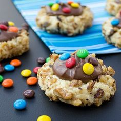 The classic thumbprint cookie topped with a dollop of Nutella and sprinkled with mini m&ms.