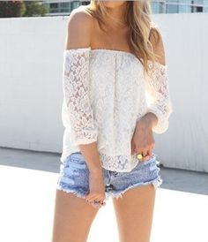 lace hollow yarn shirt from FE CLOTHING