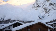 A powerful avalanche tumbles down a mountain in Switzerland, covering the ski resort of Saas-Fee in snow. Swiss Ski, Saas Fee, Natural Disasters, Switzerland, Skiing, Snow, Mountains, Travel, Outdoor