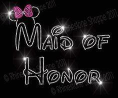 Disney Wedding MAID of HONOR Rhinestone by RhinestoneShoppe, $8.49