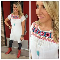 #Love this sweet embroidery tunic!  Stop by & check out what's new!  #ootd #embroidery #dress #southernstyle #sothread #atx — at Southern Thread @ The Domain
