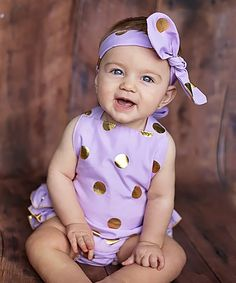 0858421d1782 Look at this Just Couture Lavender  amp  Gold Polka Dot Ruffle Romper  amp   Headband