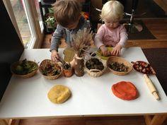 "Play dough & natural materials at Cathy's Childminding ("",) autumn play dough – Childcare Reggio Emilia Classroom, Reggio Inspired Classrooms, Playdough Activities, Toddler Activities, Montessori Toddler, Paul Klee, Curiosity Approach, School Play, Pre School"