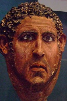 Extremely realistic painted lime plaster mask and skull of a man Roman Period 100-170 CE Diospolis Parva (Hu) Egypt