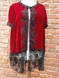 VintageDeep Red Velvet JacketBlack Lace by NineMusesofCrete, $85.00