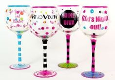 Hand Painted Girls Gotta LIve! Wine Glasses, Set of 4, Holds 18 Oz  $63.40