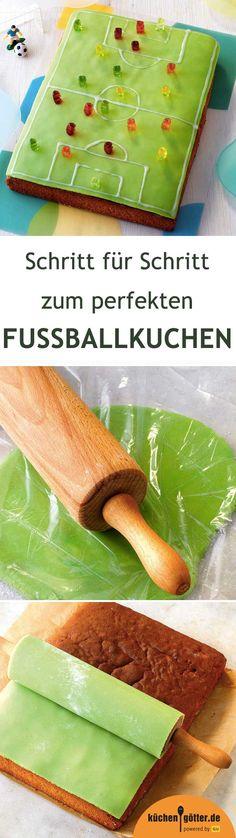 FUSSBALLFELD-KUCHEN - Wir sind im Fußballfieber! Und was darf an einem perfekten Fußballabend nicht fehlen? genau: dieser tolle Kuchen im Look eines Fußballfeldes. Wir erklären Schritt für Schritt, wie ihr das wahrscheinlich tollste Fußbalfeld überhaupt zubereitet.