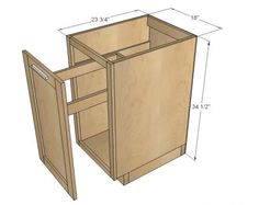 """How to build kitchen cabinets! This plan is for an 18"""" wide full overlay face frame pull out trash bin. It can also be used as a cupboard with door for storage - just add shelves. Free easy step by step plans."""