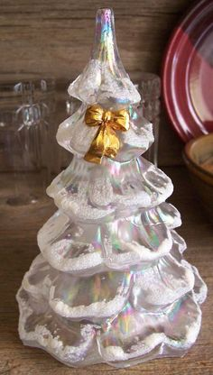 Fenton Opalescent Glass Tree with bow
